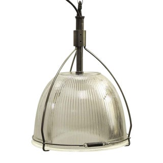 Industrial Holophane Glass Pendant Light For Sale