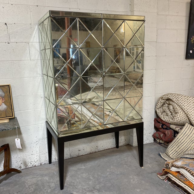 John-Richard Antiqued Mirror Bar Cabinet For Sale - Image 13 of 13