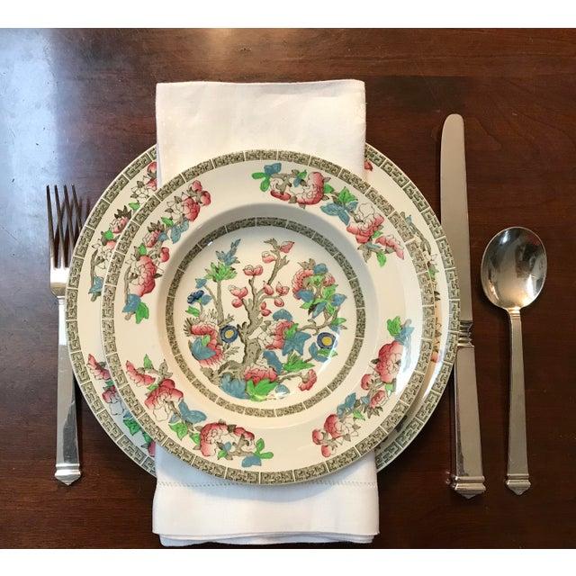 Mid 20th Century Set of 11 White Linen Damask Dinner Napkins For Sale - Image 5 of 7