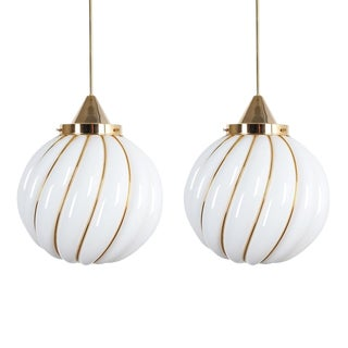 Pair of Attributed Josef Hoffmann Pendant Lamp Opal Glass Gold, Austria For Sale