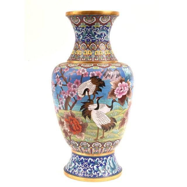 Very large decorative Cloisonné with blossom flowers and birds design details vase / piece. The Cloisonné vase is just...