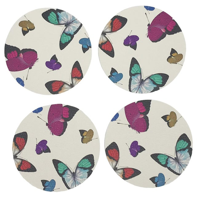Contemporary Butterflies Coasters, Set of 4 For Sale - Image 3 of 3
