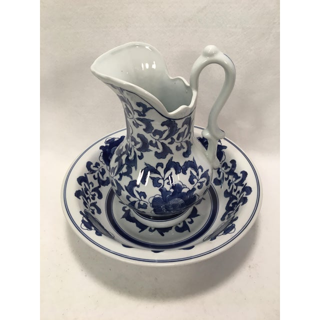 This is a beautiful Victorian Style Floral Design Pitcher and Bowl Set! Cobalt blue on white field. Pitcher Height: 11...