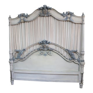 French Rococo Style Carved & Paint Decorated Kingsize Headboard For Sale