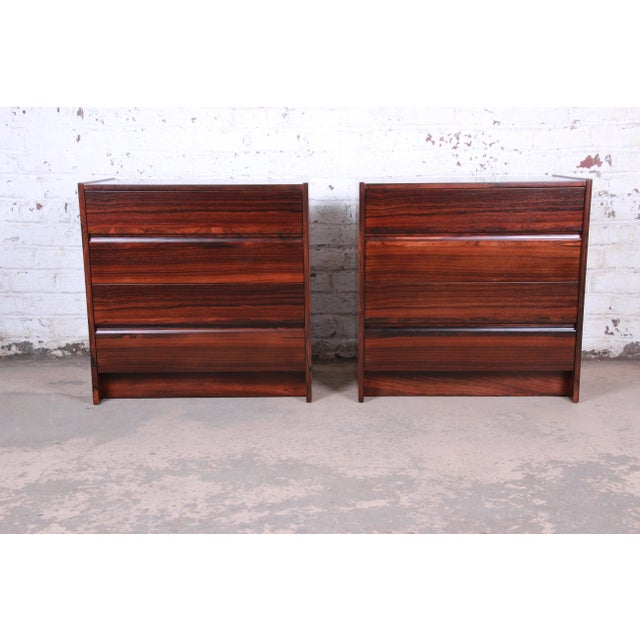 Mid-Century Modern Danish Modern Rosewood Bachelor Chests or Large Nightstands, Newly Restored For Sale - Image 3 of 13