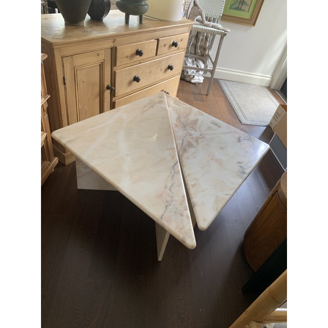 1990s Mid Century Tiered Triangular Pink Marble Cocktail Table For Sale - Image 5 of 8