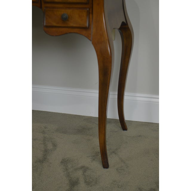 Glass French Louis XV Style Vintage Walnut Small Writing Desk or Vanity For Sale - Image 7 of 13