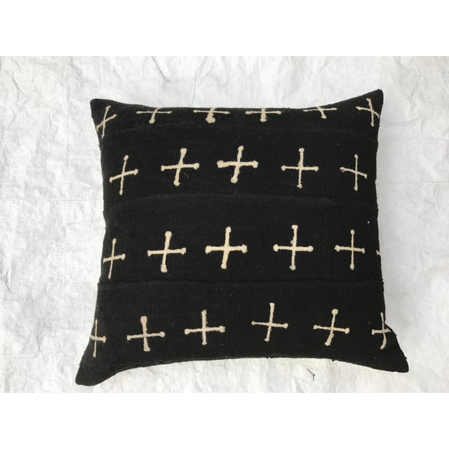 African Mali Tribal Cross Patterned Mud Cloth Pillows- A Pair For Sale - Image 4 of 10