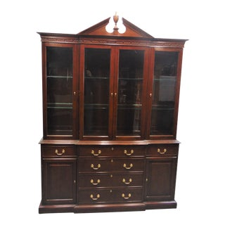 Harden Cherry Georgian Style Breakfront China Cabinet For Sale