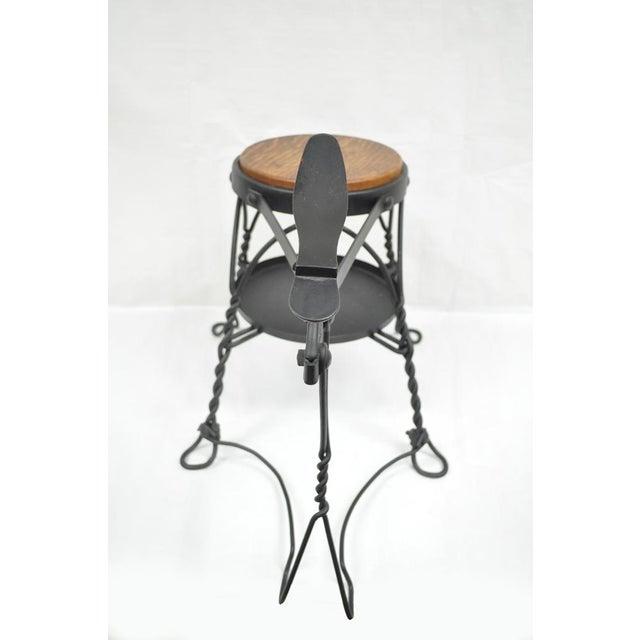Antique Twisted Wrought Iron Shoe Shine Bench Oak Seat With Foot Rest Stool For Sale - Image 5 of 11