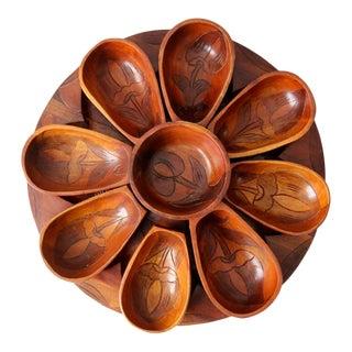 Vintage Carved Wooden Serving Set For Sale