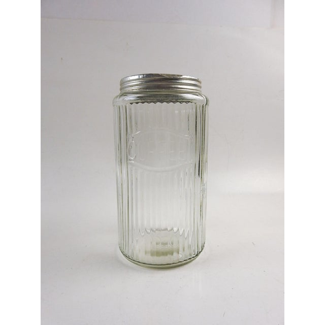 1930s Ribbed Glass Coffee Canister For Sale - Image 5 of 5