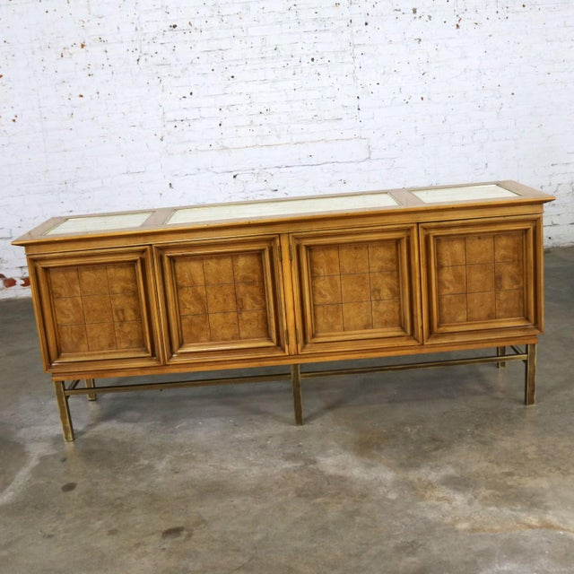 Mid Century Modern Credenza With Hutch Attributed to J. L. Metz Contempora Line For Sale - Image 9 of 13