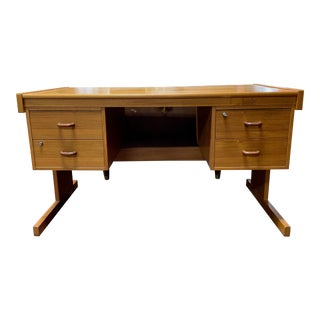 1960s Danish Modern Teak Four Drawer Executive Desk For Sale