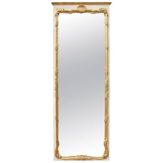 Vintage Mid Century Italian Carved and Giltwood Console or Trumeau Mirror For Sale