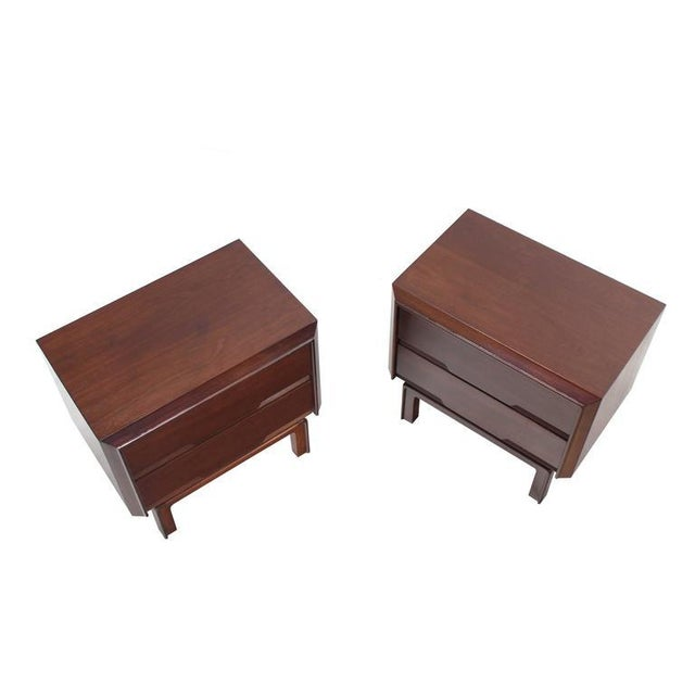 Danish Modern Pair of Danish Mid Century Modern Walnut End Tables Two Drawer Stands For Sale - Image 3 of 8
