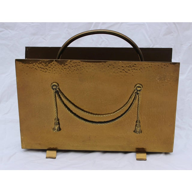 Mid-Century Modern English Brass Magazine Holder by Peerage For Sale - Image 3 of 11