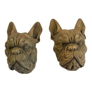 Gothic French Bulldog Heads - a Pair