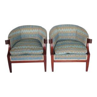 1950s Mid-Century Modern Baker Furniture Company Mahogany Club Chairs - a Pair