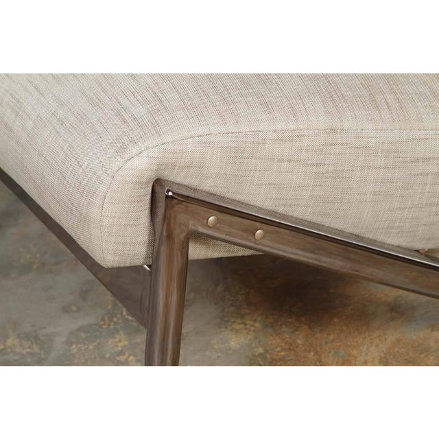 Metal Paul Marra Slipper Chair in Black Nickel with Linen For Sale - Image 7 of 7