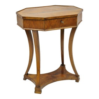 Antique Cherry Wood Italian Biedermeier One Drawer Accent Lamp Side Table For Sale