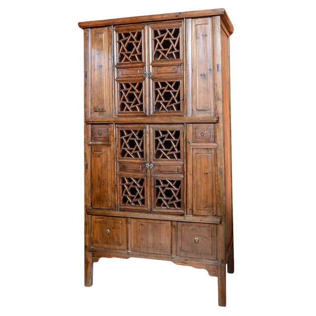 Chinese Elm Wood Cabinet For Sale