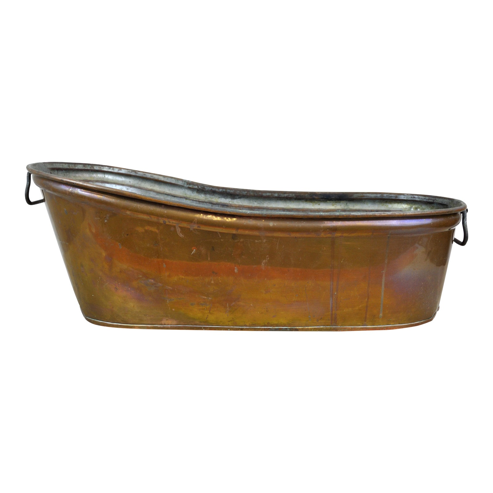Antique Baby Copper Bath Tub With Nickel Interior | Chairish