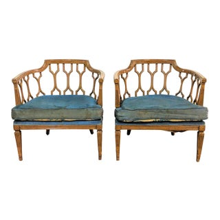 Hollywood Regency Lattice Back Lounge Chairs - a Pair