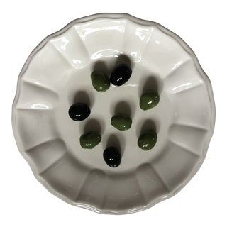 Italian Trompe Loeil Porcelain Plate of Olives by Este Ceramics Exclusively for Tiffany & Co. For Sale
