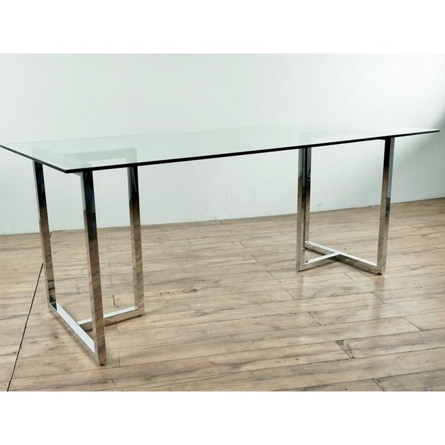 Contemporary Modern Glass & Chrome Dining Table For Sale - Image 3 of 5