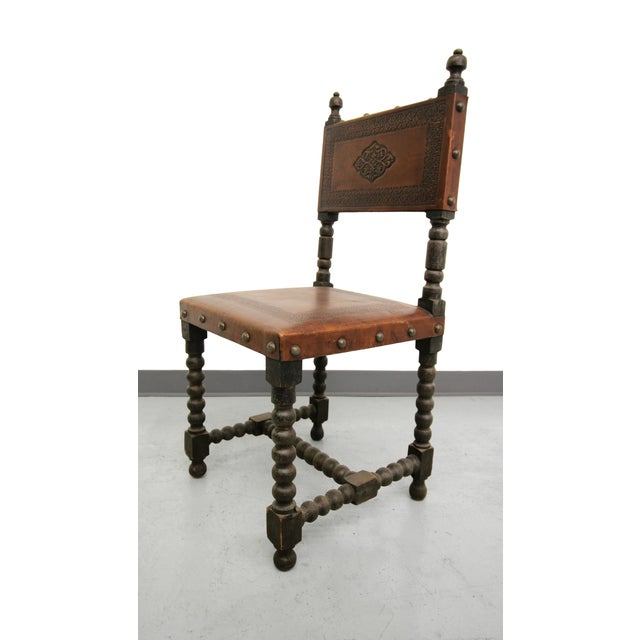 Antique Spanish Colonial Leather Dining Chairs- 6 - Image 3 of 6 - Antique Spanish Colonial Leather Dining Chairs- 6 Chairish