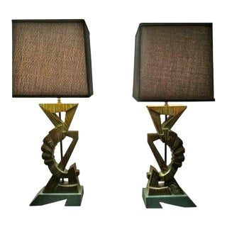 Sculptural Carved Wood Lamps - a Pair For Sale