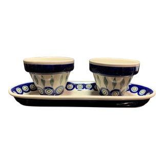 Late 20th Century Vintage Ceramic Peacock Boleslaweic Polish Plant Pots- Set of 3 For Sale