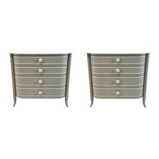Modern Caracole Gray Mademoiselle Nightstands Pair For Sale