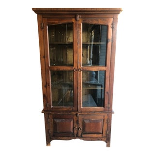20th Century Rustic Wood Cabinet Hutch W/ Glass Doors For Sale