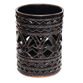 Moroccan Hand Painted Black Tealight Candle Cup Holder For Sale