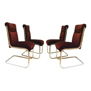 Vintage Brass Cantilever Chairs Modern Hollywood Regency Dining Chairs - Set of 4 For Sale