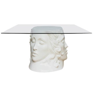 One-of-a-Kind Signed White Lacquered Resin and Glass Dining Table, Center Table or Desk