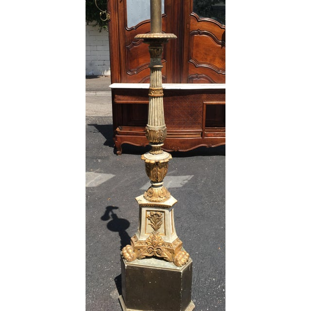 Antique Carved Italian Pricket Floor Lamp w Custom Shade. This lovely lamp was made from a genuine antique pricket...