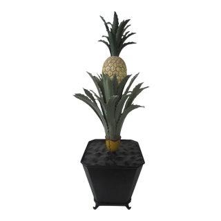 1970s Regency Tole Pineapple in Urn For Sale