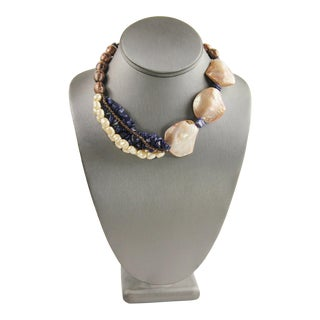 Lapis Pearl Shell & Art Glass Statement Necklace For Sale
