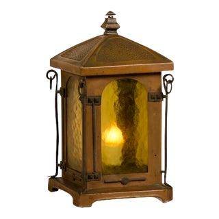 Antique French Art Nouveau Period Copper Table Top Lantern circa 1900 For Sale