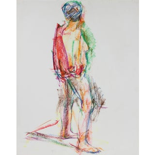 Jack Freeman Colorful Expressionist Abstracted Figure in Wax Crayon, 1980 1980 For Sale