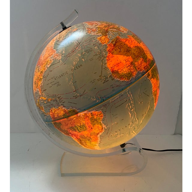 Traditional Lucite Holder and Vintage 1987 Illuminated World Globe For Sale - Image 3 of 11