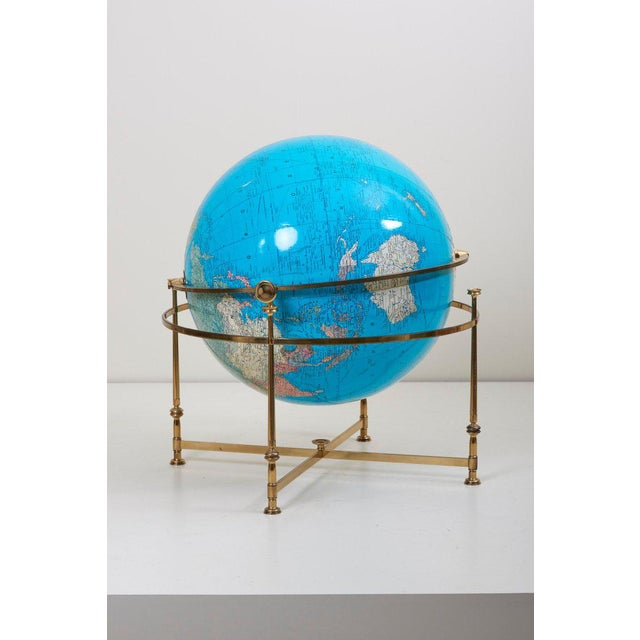 Huge Vintage Illuminated Globe With Brass Stand For Sale - Image 9 of 13