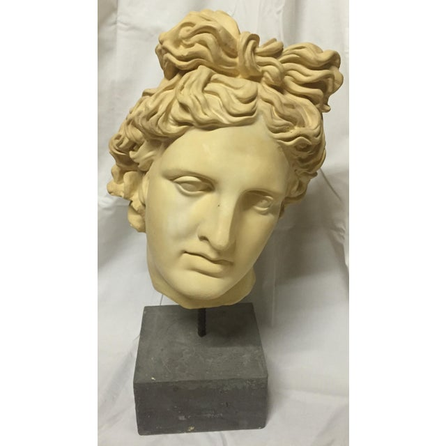 Figurative NeoClassical Plaster Bust Sculpture - Greek God's Head on Stone Base For Sale - Image 3 of 10