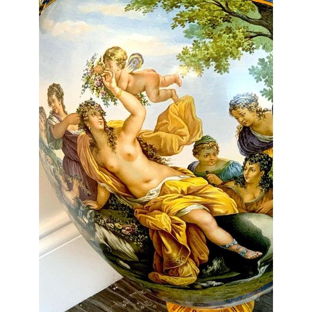 Richard Ginori Stunning Ginori Majolica Allegorical Serpent Handled Vase For Sale - Image 4 of 13