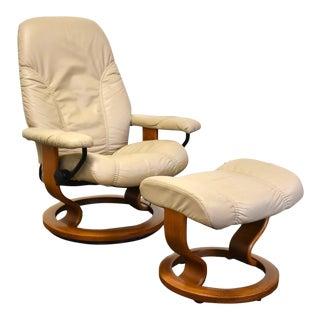 Ekornes Stressless Reclining Lounge Chair & Ottoman For Sale