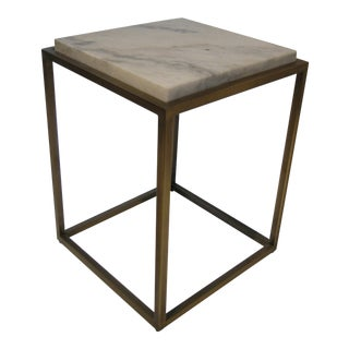 Geometric Brass Side Table For Sale