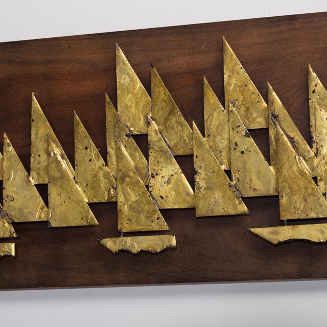 Mid-Century Modern Rare Brass Metal Sailboat Wall Sculpture by Peter Pepper, 1960s For Sale - Image 3 of 4